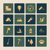 Outdoors Tourism Camping Flat Icons Set — Stock Vector
