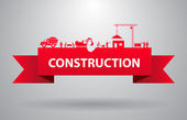 Red construction banner — Stock Vector