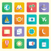 Travel Vacation Icons Set — Vector de stock