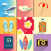 Travel and vacation icons set — Vecteur