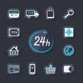 Internet website store open 24 hours — Stock Vector