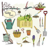 Sef of gardening tools — Stock Vector