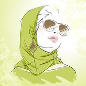 Ritratto di ragazza moda primavera nei colori verdi — Vettoriale Stock