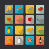 Supermarket foods icons set — Stock Vector