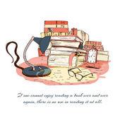 Books reading still life — Stock Vector