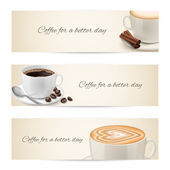 Collection of banners with coffee cups — Stock Vector