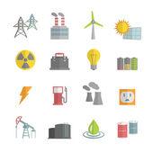 Energy Power Flat Icons Set — Stock Vector