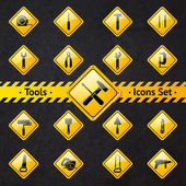 Toolbox attention yellow and black signs — Stock Vector
