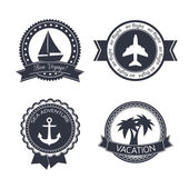 Vacations travel stickers set — Stock Vector
