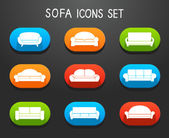 Sofas and Couches Furniture Icons Set — Stock Vector