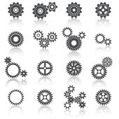 Cogs Wheels and Gears Icons Set — Stock Vector