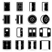 Açık ve kapalı kapılar Icons set — Stok Vektör