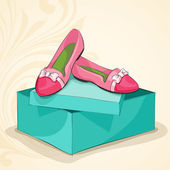 Glamour woman's pink ballet flats — Stock Vector