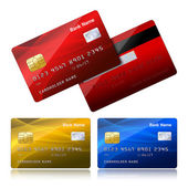 Realistic credit card with security chip — Vecteur