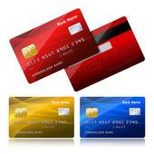 Realistische kreditkarte mit sicherheits-chip — Stockvektor