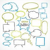 Doodle comic speech bubbles set — Stock Vector