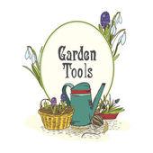 Hand drawn gardening tools emblem — Stock Vector