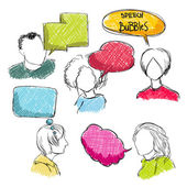 Doodle speech bubbles with men and women — Stock Vector