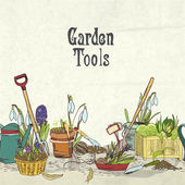 Hand drawn gardening tools album cover — Stock Vector