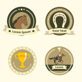 Horseback riding flat badges and labels — Stock Vector