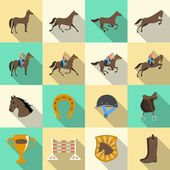 Horseback riding flat shadows icons set — Stock Vector
