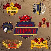 Motorcycle bike emblems set — Stock Vector
