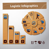 Logistic cardboard infographics elements — Stock Vector
