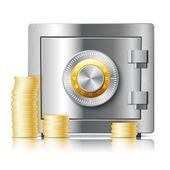 Realistische symbol des safe-stahl-sicherheitskonzept — Stockvektor