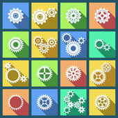 Collection of cogs and gears icons set — Stock Vector