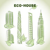 Eco green buildings icons — Stock Vector