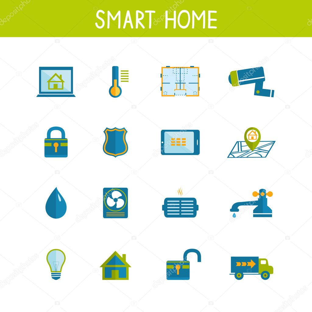 smart home automation technology icons set stock vector. Black Bedroom Furniture Sets. Home Design Ideas
