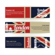 Collection of banners and ribbons with London landmarks — Stock Vector