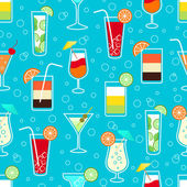 Seamless pattern with alcohol cocktail drinks — Stock Vector