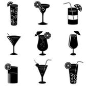 Pictograms of party cocktails with alcohol — Stock Vector