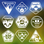 Outdoors tourism camping flat emblems set — Stock Vector