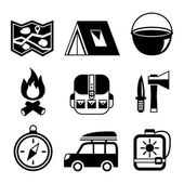Outdoors tourism camping flat pictograms set — Stock Vector