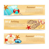 Collection of banners with summer holiday vacation — Stock Vector