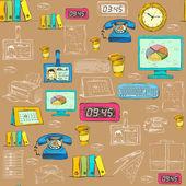 Seamless business office supplies pattern — Stock Vector