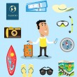 Stock Vector: Vacation or business traveler character set