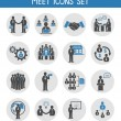 Flat business people meeting icons set — Stock Vector