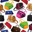 Seamless woman's fashion bags background — 图库矢量图片
