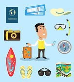Vacation or business traveler character set — Vector de stock