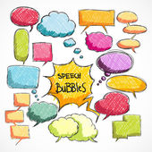 Doodle comic chat bubbles collection — Stock Vector