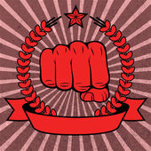 Clenched fist red poster with ribbon — Stockvector