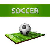 Soccer ball and grass field emblem — Stock Vector