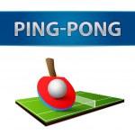 Table tennis pingpong rackets emblem — Stock Vector
