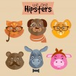 Stock Vector: Collection of hipster cartoon character animals
