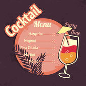 Alcohol cocktails drink menu card template — Stock Vector