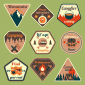 Outdoors tourism camping flat badges set — Stock Vector