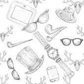 Seamless hand drawn hipster accessories pattern — Stock Vector